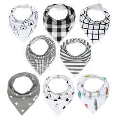 MatiMati Monochrome Baby Bandana Drool Bib Set